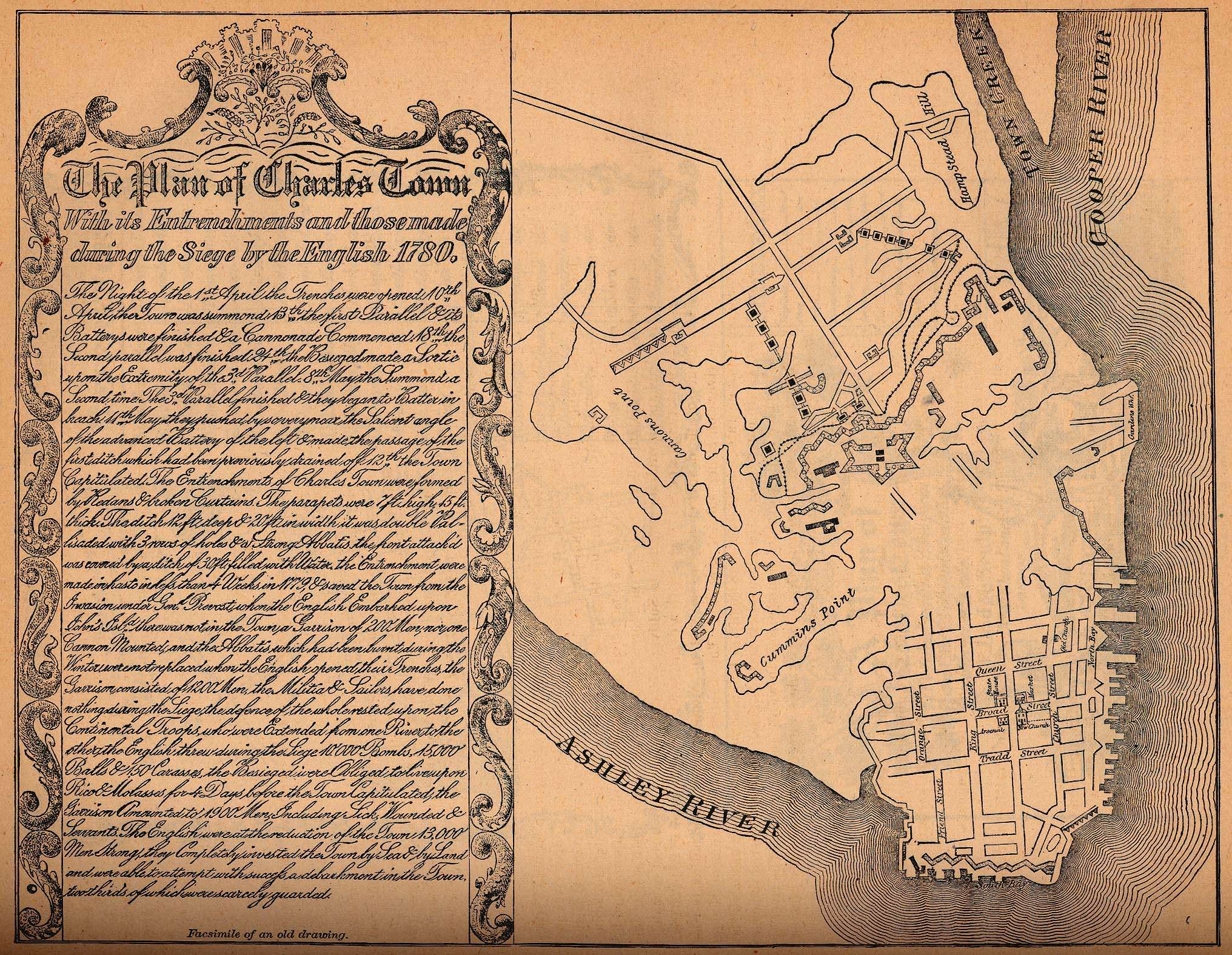 South Carolina - Charles Town in 1780 Map